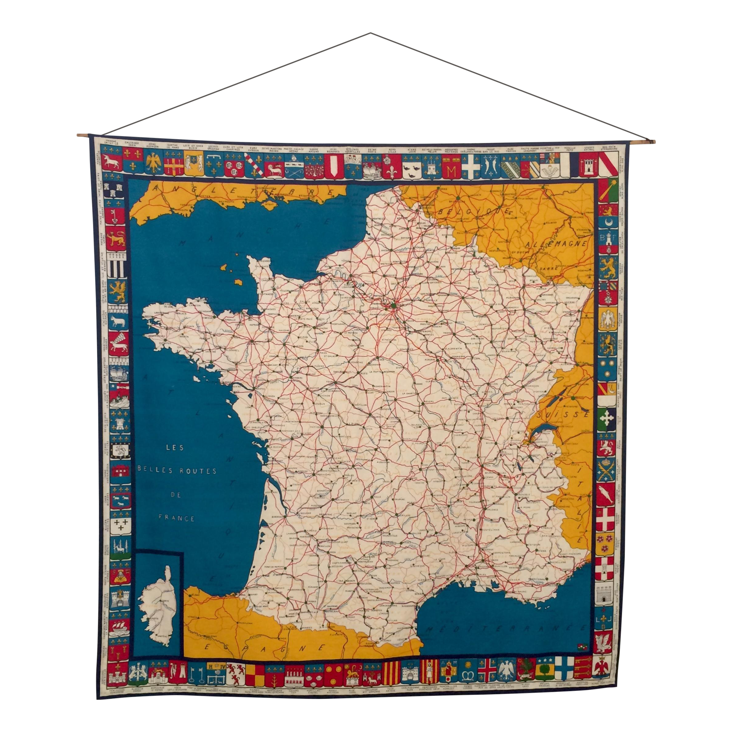Large Fabric Map of France Poster Chairish