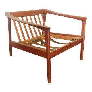 1960s Swedish Modern Folke Ohlsson Teak Lounge Chair Frame For Sale