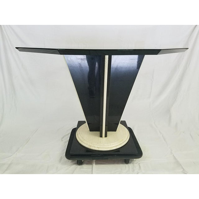 Glass Top Table with Granite & Marble Base - Image 5 of 8