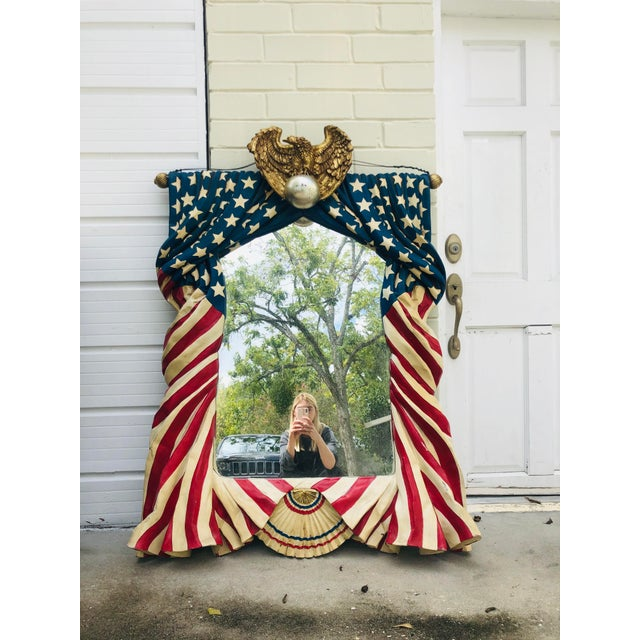 Incredibly rare and unusual antique mirror features whimsical cascading stars and stripes molded of plexiglass draping...
