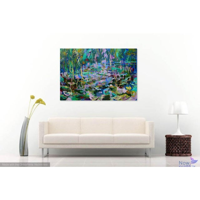 Abstract Monumental Lily Pond Oil Painting at Monet's Garden For Sale - Image 3 of 12