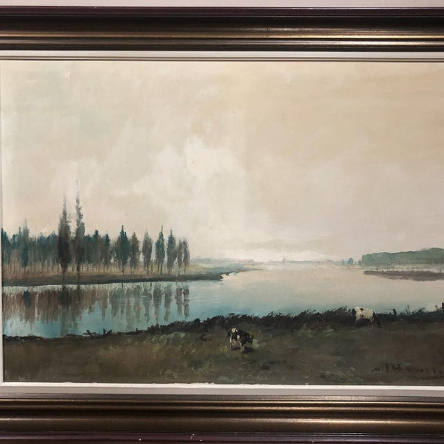 Antique Framed Oil Painting on Canvas by Pauwels is a classic pastoral by the well-known artist who always exhibits a...
