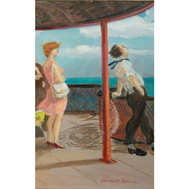 """Paint Mid 20th Century """"Riders on the Staten Island Ferry"""" Oil Painting By Cecil Crosley Bell For Sale - Image 7 of 11"""