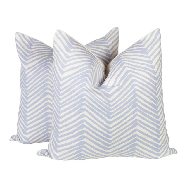 Alan Campbell Periwinkle Zig Zag Pillows - A Pair For Sale