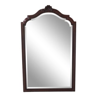 Century Cherry Carved Top Beveled Glass Dresser Mirror For Sale