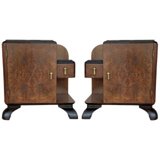 Pair of Midcentury Front Nightstands With Original Hardware and Ebonized Base For Sale