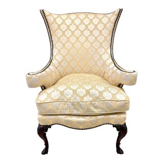 Antique Gold Silk Upholstered Wingback Chair For Sale