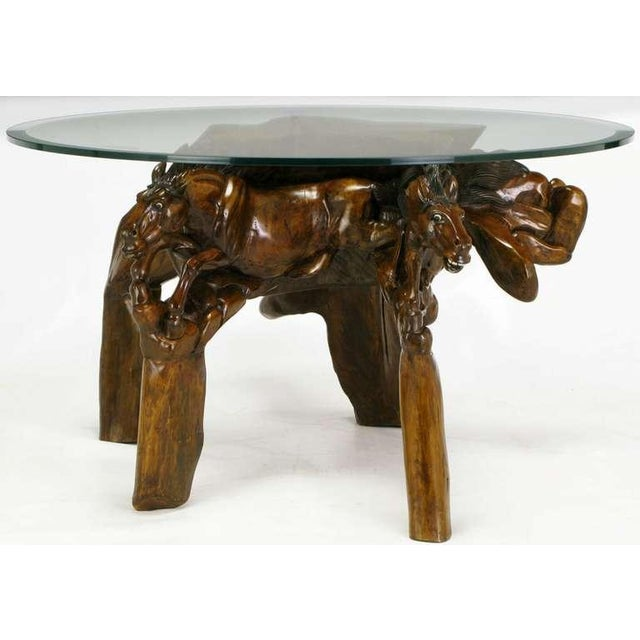 Incredible Equine Carved Wood Coffee Table - Image 6 of 9