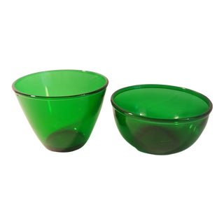 Anchor Hocking Forest Green Serving Bowls ,Set of 2 For Sale