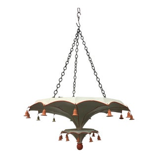 Two Tier Chinoiserie Style Painted Umbrella Chandelier