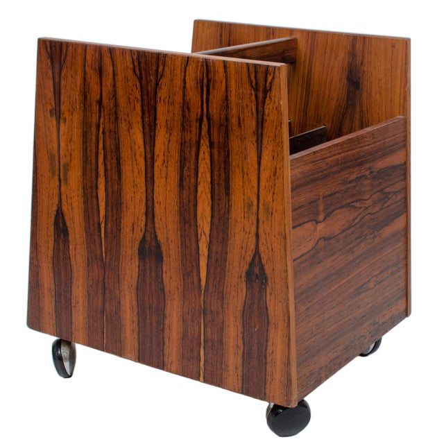 Mid-century Scandinavian modern rosewood magazine or LP record cart on casters. A Rolf Hesland design for Bruksbo. Good...
