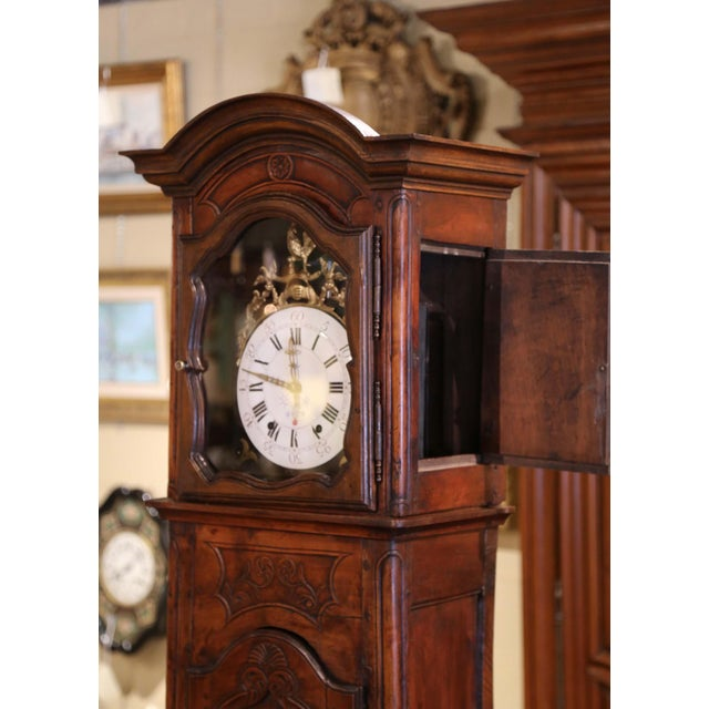 18th Century French Louis XV Carved Walnut and Burl Case Clock With Rooster For Sale - Image 9 of 12