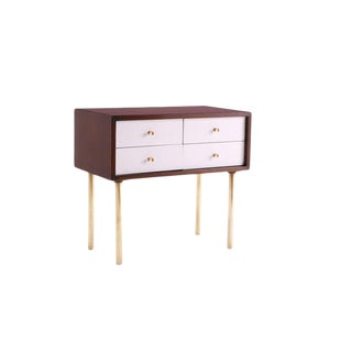 1960s Vintage Harvey Probber Walnut Brass and Lacquered Chest For Sale