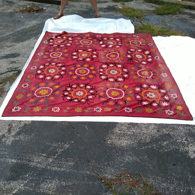 Vintage Uzbekistan Suzani Textile For Sale In Kansas City - Image 6 of 6