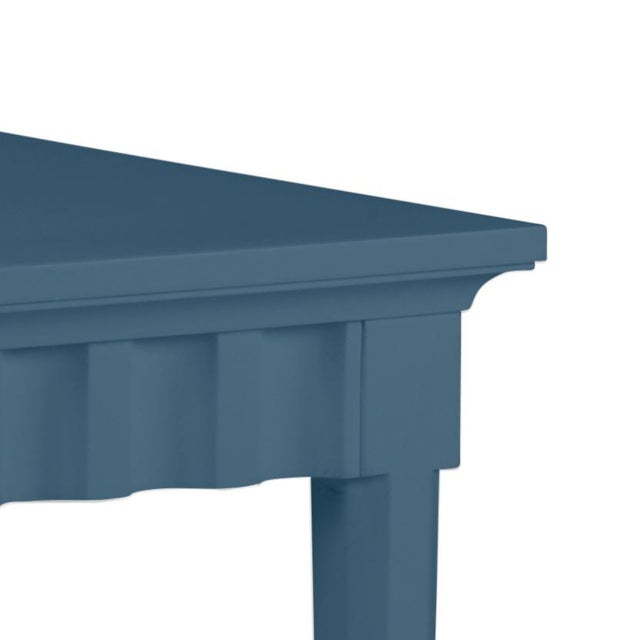 Features a carved scallop pattern design. The color is Benjamin Moore Van Deusen Blue with a semi-gloss finish. Made of...