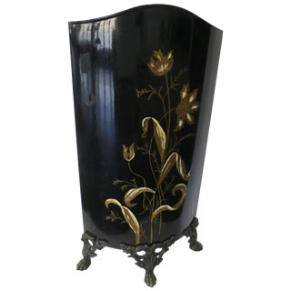 Antique Victorian Painted Metal Fireplace Screen For Sale