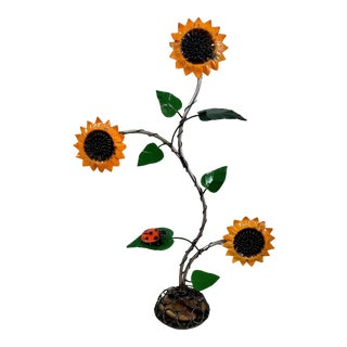 Vintage Recycled Iron Sunflower Garden Sculpture For Sale