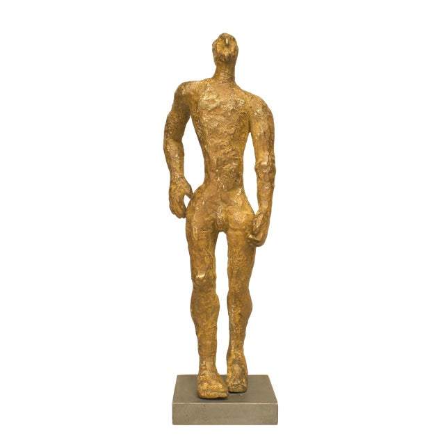"American Carol Bruns Gold Patinated Bronze ""Exiting Man"" Sculpture C. 2000 For Sale"