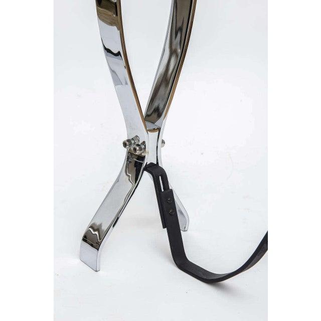 Metal Modern Nickel-Plated Andirons Flame Motif For Sale - Image 7 of 11