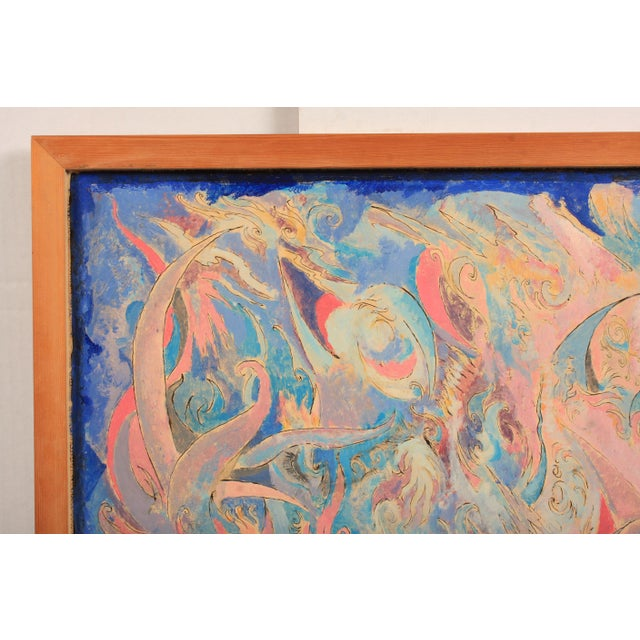 1981 Abstract composition made up of dynamic shapes in bright and muted colors featuring a rising phoenix figure. Lars...