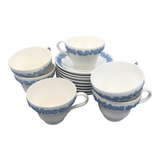 Wedgewood Pale Blue on Cream Jasperware Tea Cup and Saucers - Set of 15