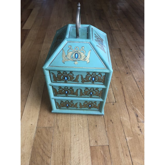 Wood Vintage Indian Hand Painted Box For Sale - Image 7 of 13