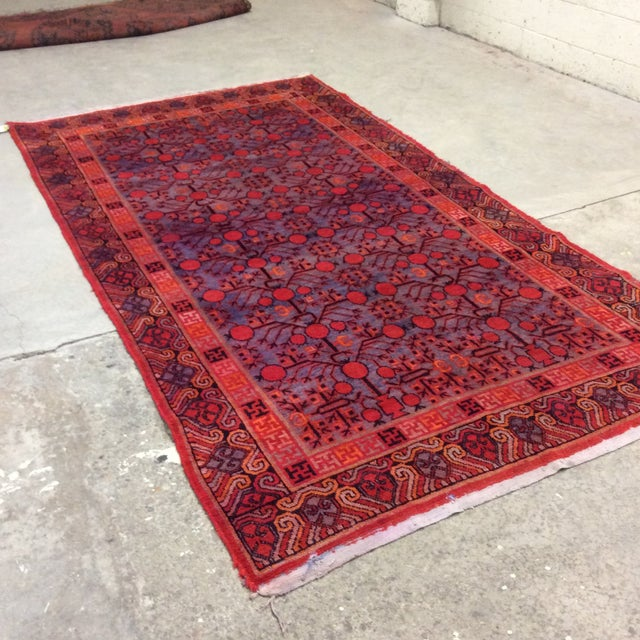 Fantastic Chinese Khotan rug in exceptional vintage condition. Colors are vibrant and pile is barely worn. Pinks, oranges,...
