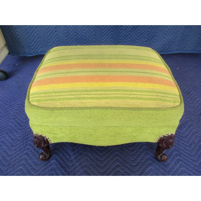 Here's a funky cool footstool with French Provincial styling and soothing green, yellow and burnt orange mid-century...