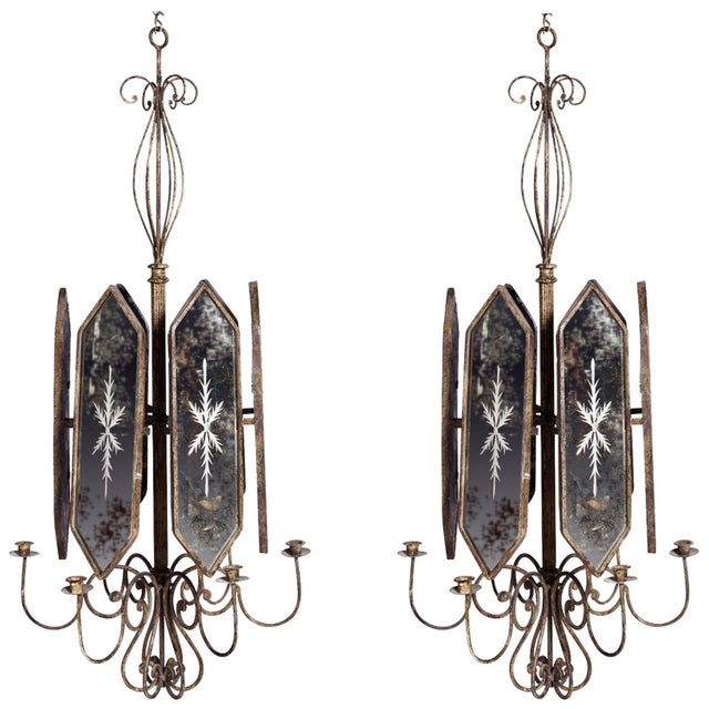 Italian Etched Mirror Panel Hanging Candlestick Chandeliers For Sale - Image 11 of 11