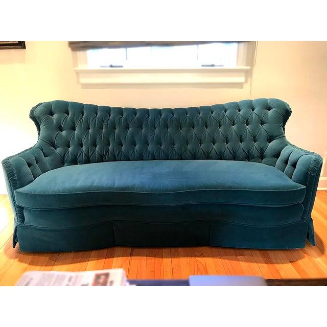 Vintage Velvet Sofa For Sale - Image 4 of 4