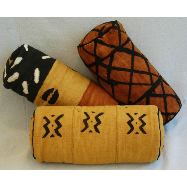 Tribal Mud-Cloth Bolster Accent Pillows - Set of 3 - Image 5 of 9