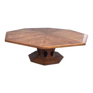 1970s Moorish Octagonal Walnut Cocktail Table For Sale