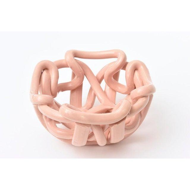 Contemporary Vintage Twisted Glazed Ceramic Sculptural Bowl For Sale - Image 3 of 11