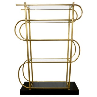 Italian Modern Gold Brass Tubular Shelving Unit Étagère on Black Lacquered Base - in Showroom For Sale