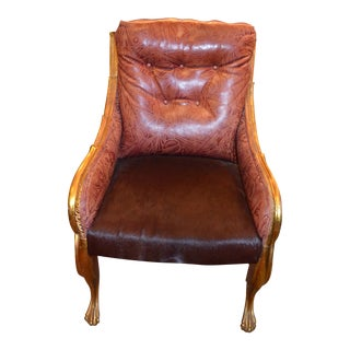 Antique Neoclassical Style Gold Eagle Armchair Newly Upholstered in Burgundy Tooled Leather and Hide For Sale