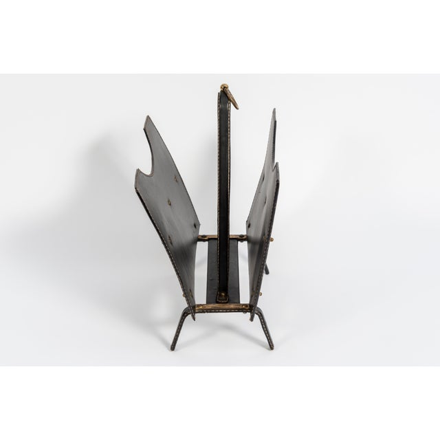 Leather Stitched Leather Magazine Rack by Jacques Adnet For Sale - Image 7 of 8
