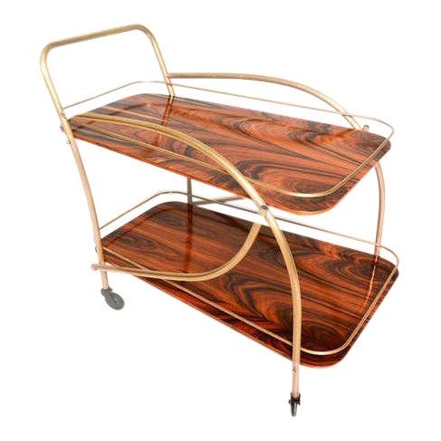 Brazilian Rosewood Double Deck Service Cart For Sale