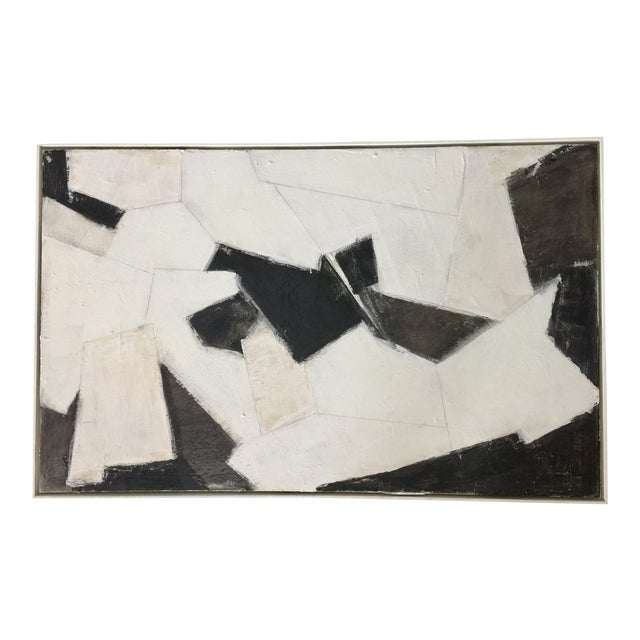 Black, White and Beige Abstract Painting For Sale