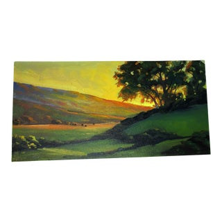 Vintage Hills Valley Sunset Trees Landscape Acrylic Painting Artist Signed For Sale