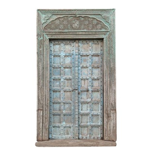 Great Imposing Krishna Painted Indian Door For Sale