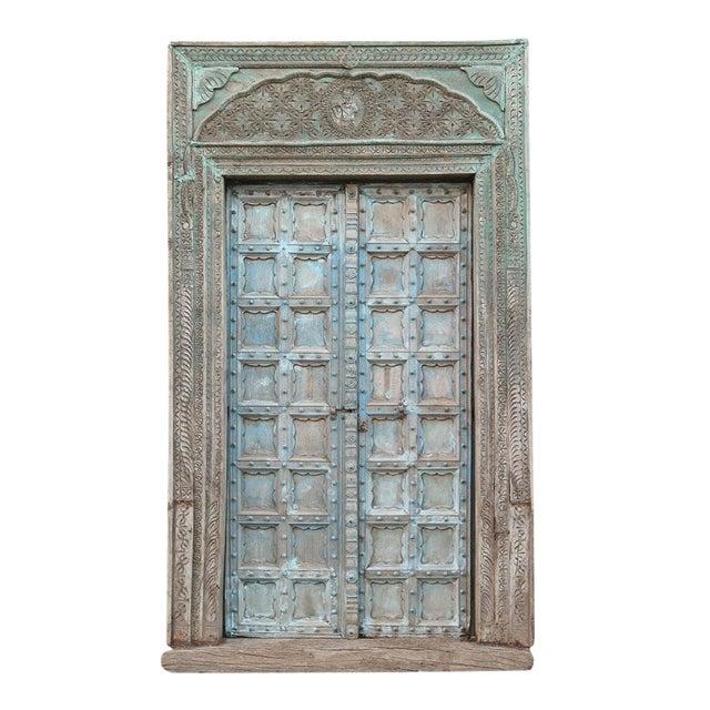 Great Imposing Krishna Painted Indian Door For Sale