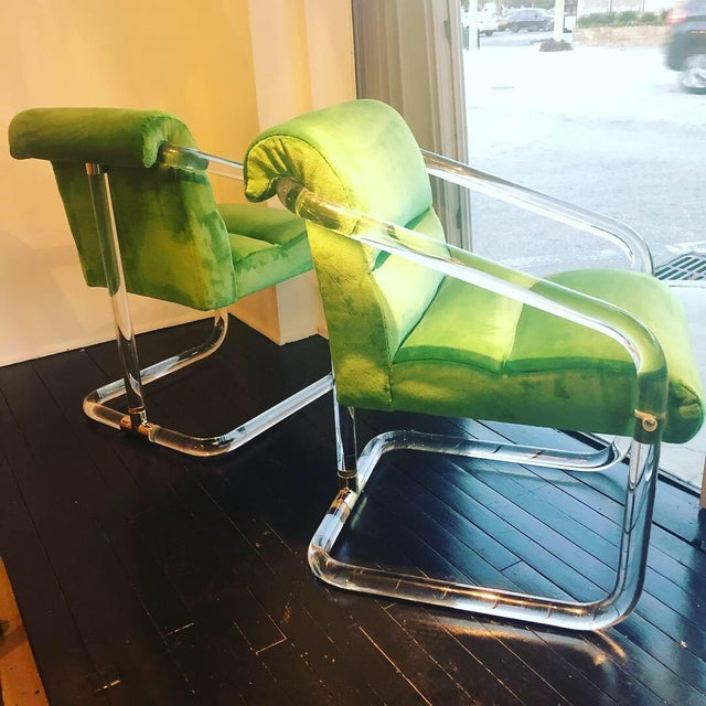 Vintage Signed Lion in Frost Hollywood Regency Lucite Brass Emerald Green Velvet Arm Chairs- A Pair For Sale - Image 13 of 13