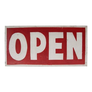 Vintage Red and White Open Sign For Sale