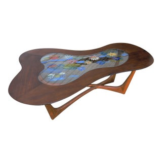Reverse Painted Glass Biomorphic Table by Erno Fabry For Sale