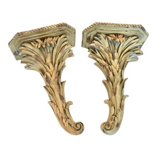 Large Feather Palm Leaf Hollywood Regency Wall Brackets Pair For Sale