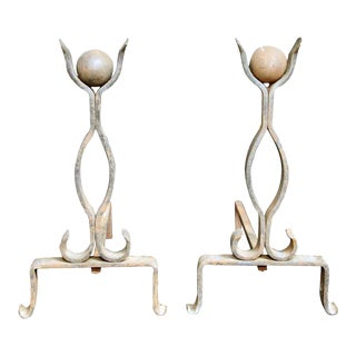 French Ball Finial Andirons - A Pair For Sale