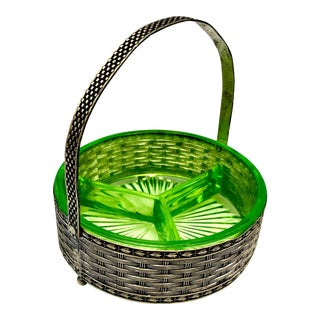 Art Deco Uranium Glass Divided Dish in Silver Basket For Sale