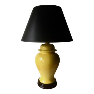 Mid-Century Yellow Chinoiserie Lamp