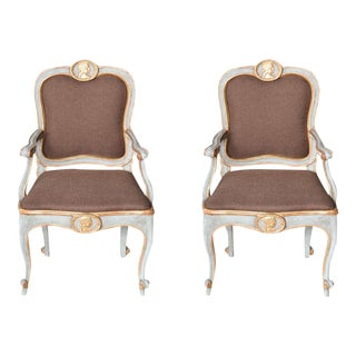 Pair of Italian Late Rococo Blue Painted, Parcel-Gilt Armchair For Sale