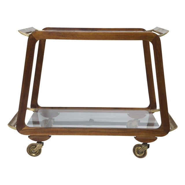 Mid-Century Austrian Walnut and Brass Bar Cart - Image 1 of 7